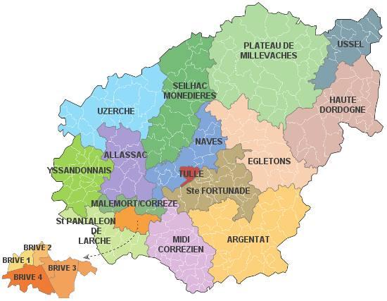 Carte des cantons de la Corrèze