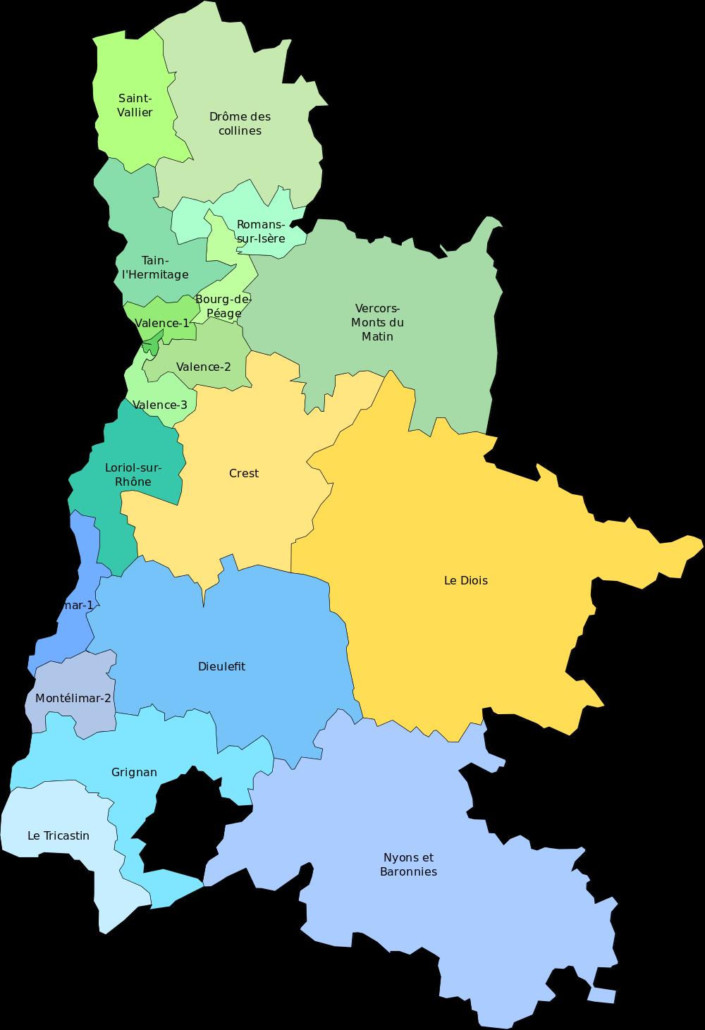 Carte des cantons de la Drôme