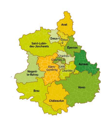 Carte des cantons de l'Eure-et-Loir
