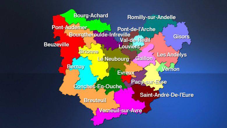 Carte des cantons de l'Eure