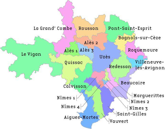 Carte des cantons du Gard