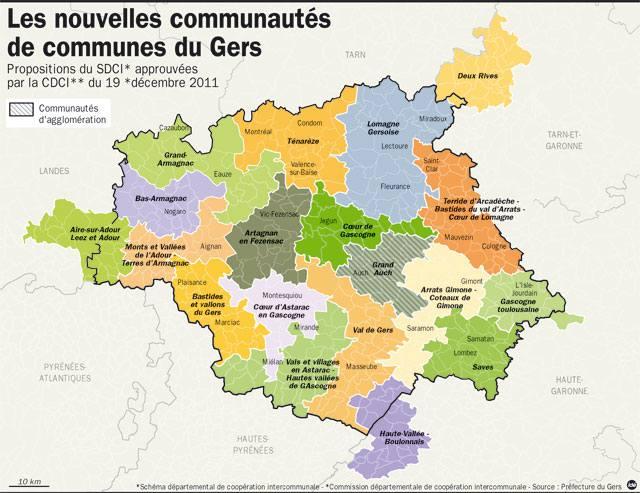 Carte des cantons du Gers