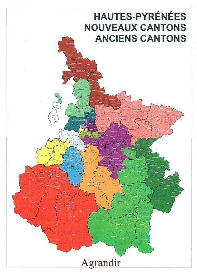 Carte des cantons des Hautes-Pyrénées