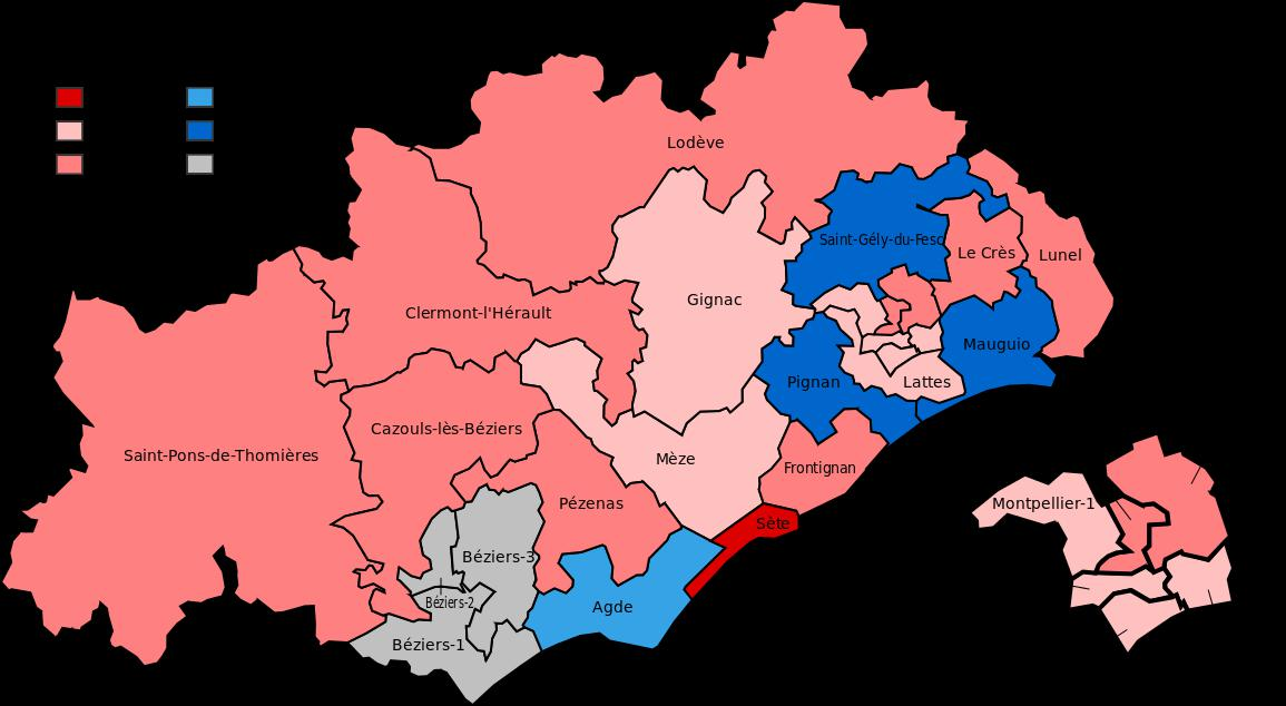 Carte des cantons de l'Hérault