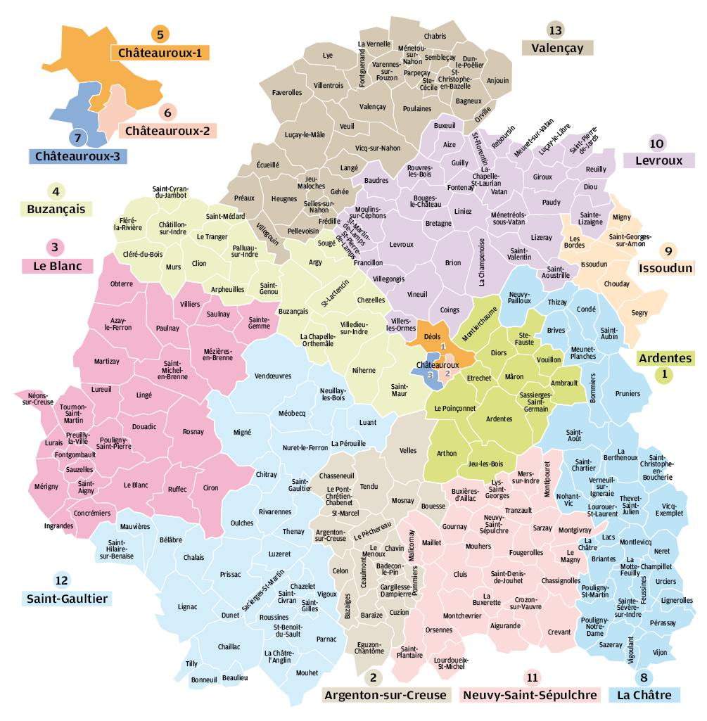 Carte des cantons de l'Indre