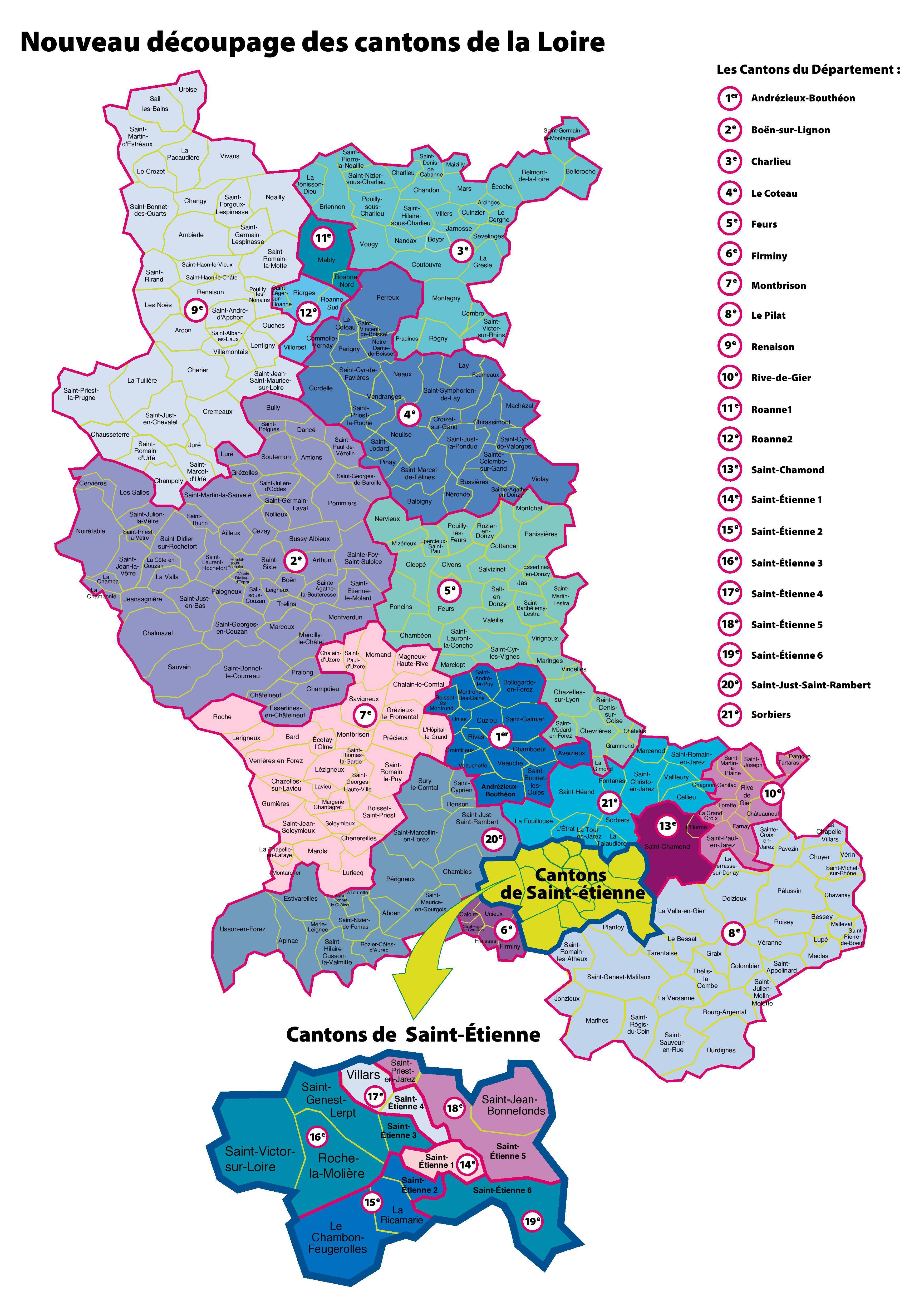 Carte des cantons de la Loire (département 42)