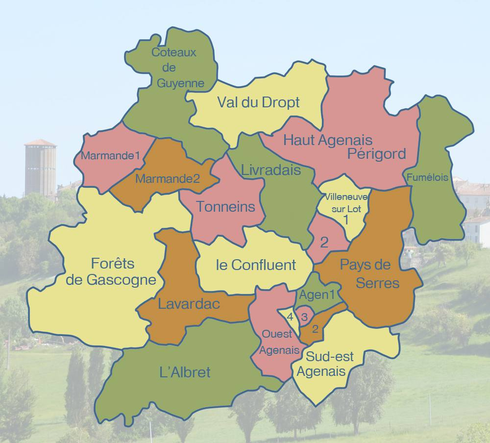 Carte des cantons du Lot-et-Garonne