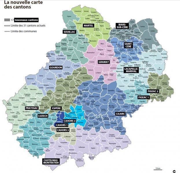 Carte des cantons du Lot