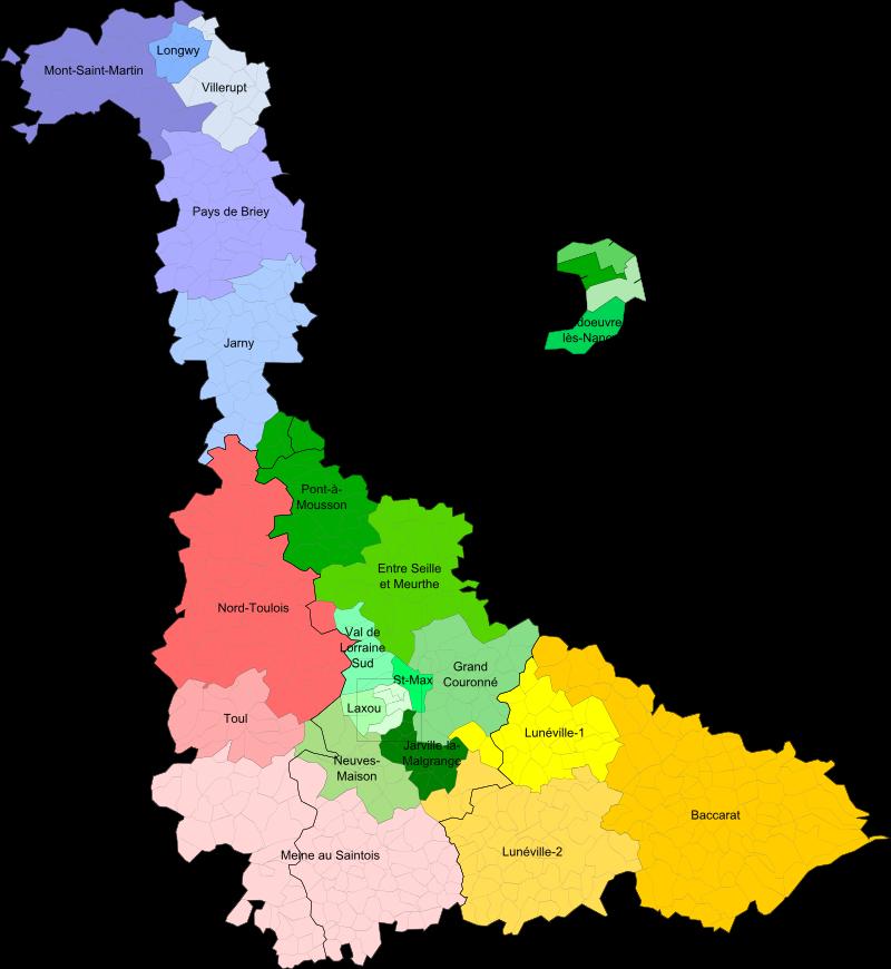 Carte des cantons de Meurthe-et-Moselle