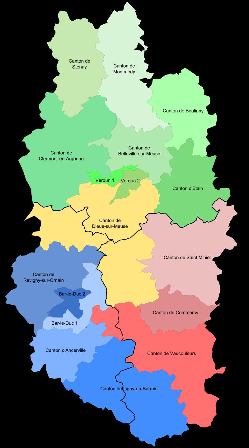 Carte des cantons de la Meuse