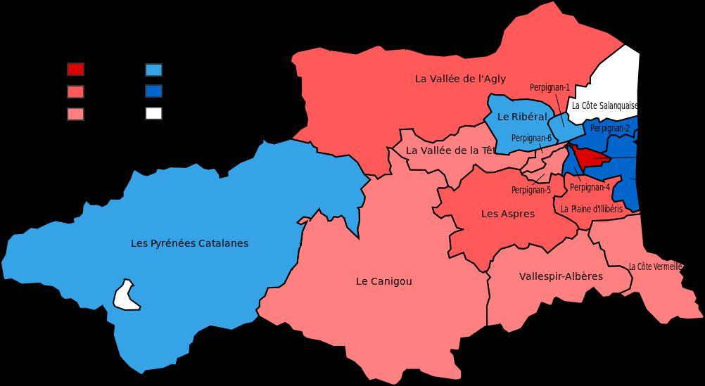 Carte des cantons des Pyrénées-Orientales