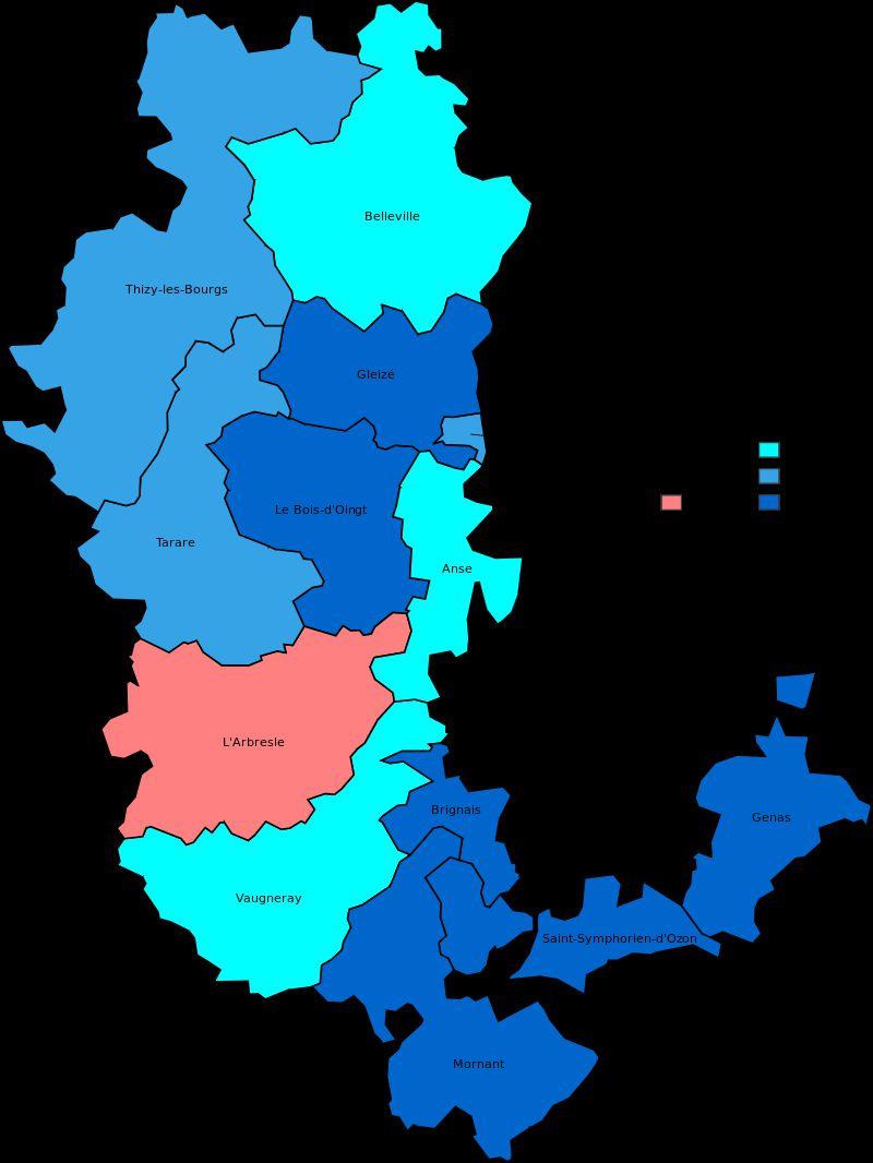 Carte des cantons du Rhône
