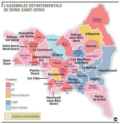 Carte des cantons de Seine-Saint-Denis
