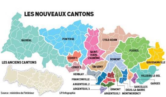 Carte des cantons du Val-d'Oise