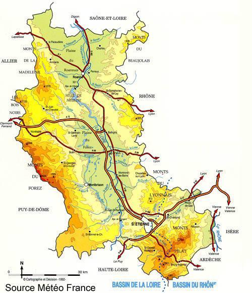 Carte du climat de la Loire (département 42)