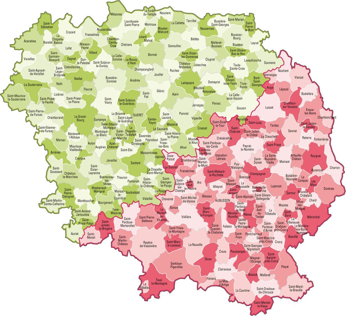 Carte des communes de la Creuse