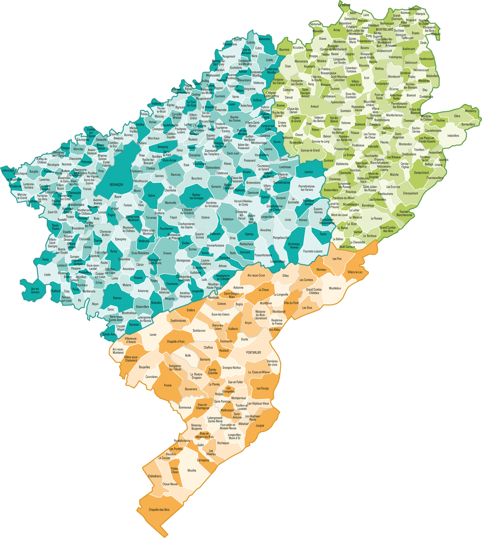 Carte des communes du Doubs