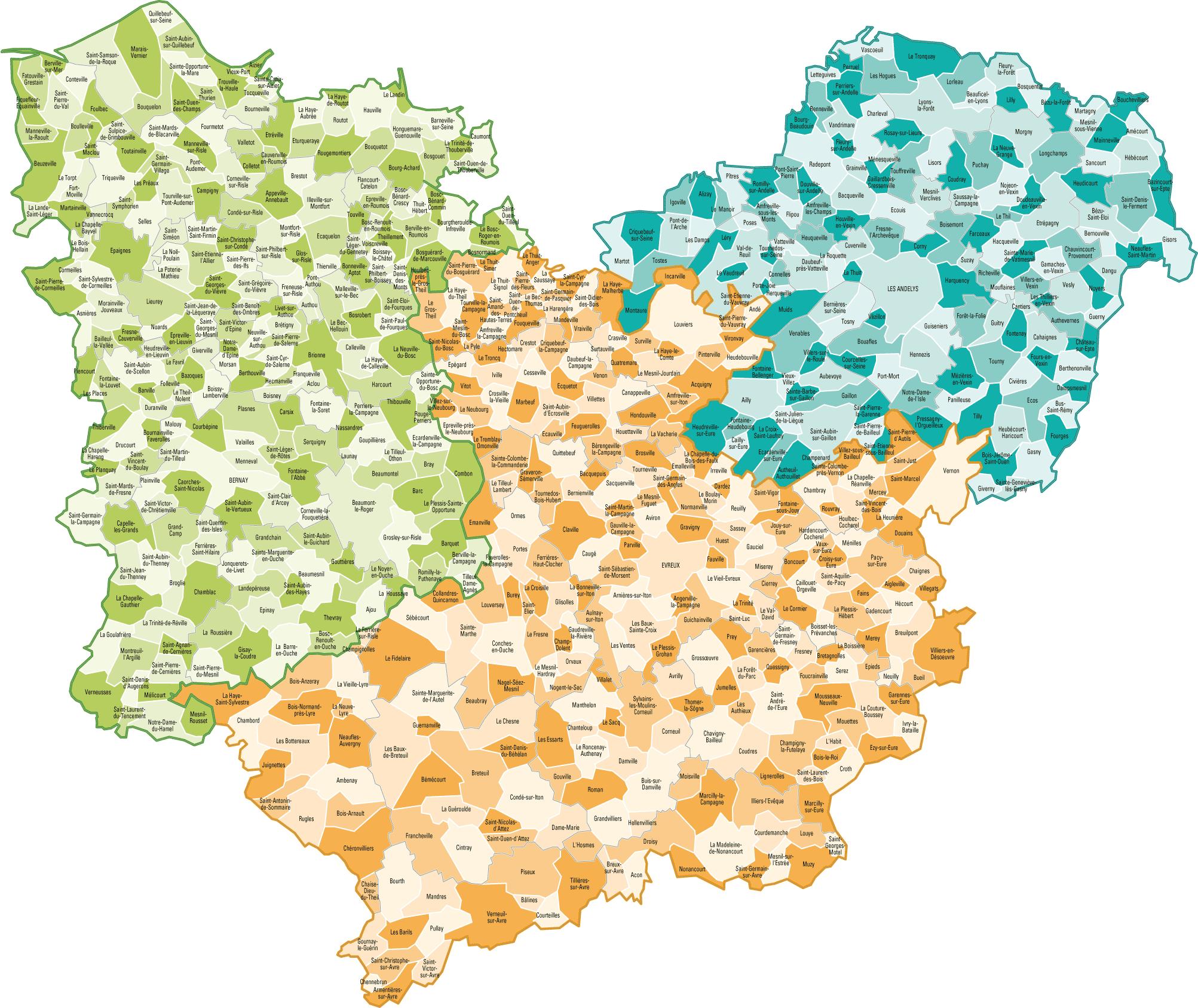 Carte de l'Eure - Eure carte du département 27 - villes, sites touristiques...