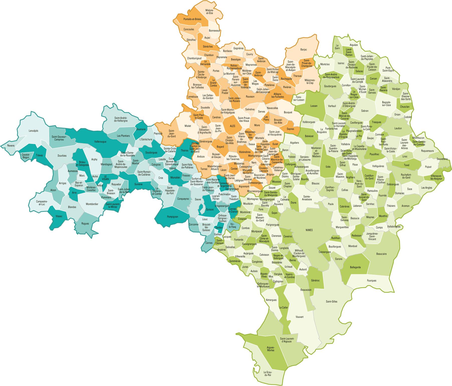 Carte des communes du Gard