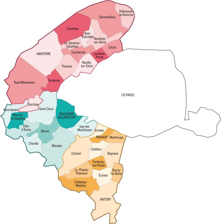 Carte des communes des Hauts-de-Seine