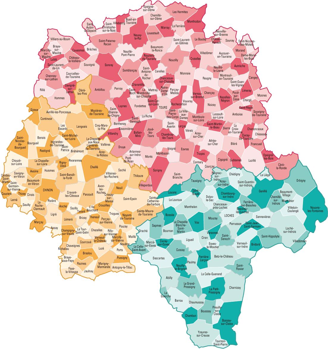 Carte des communes de l'Indre-et-Loire