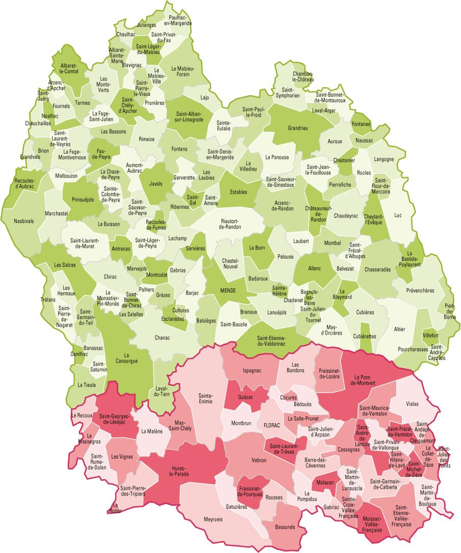 Carte des communes de Lozère