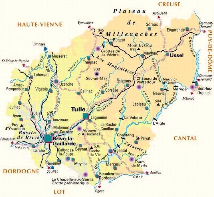 Carte de la Corrèze - Politique