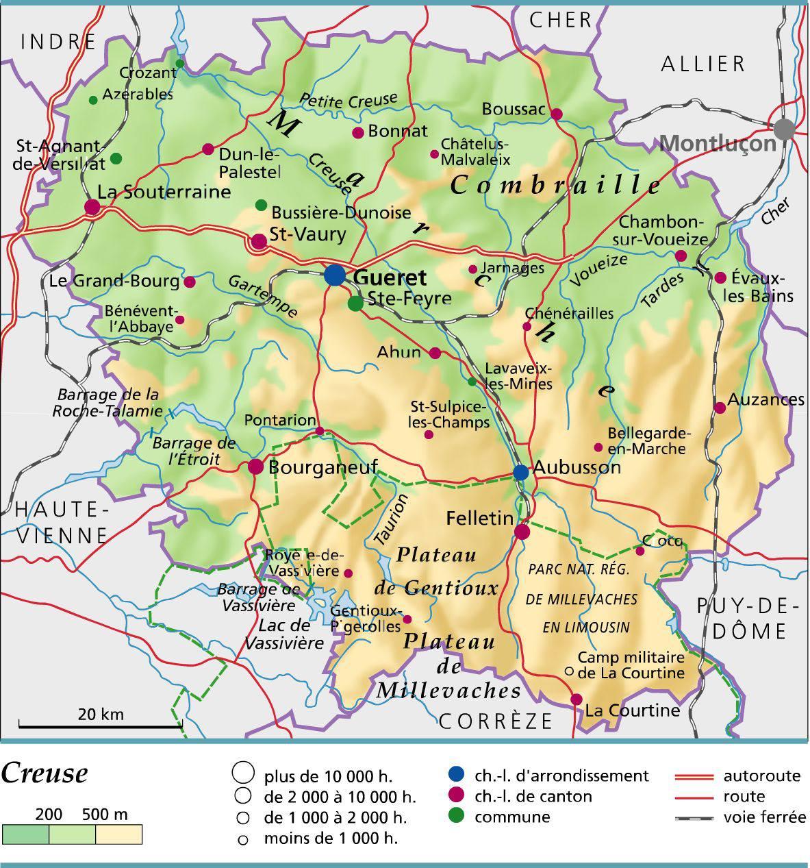 Carte de la Creuse