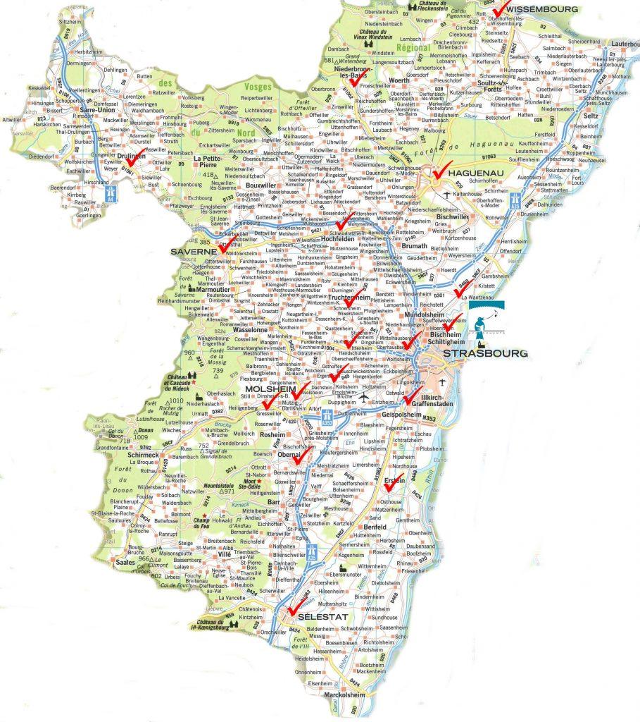 Carte détaillée du Bas-Rhin