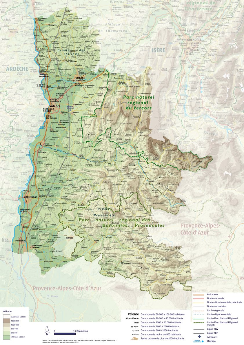 Carte détaillée de la Drôme