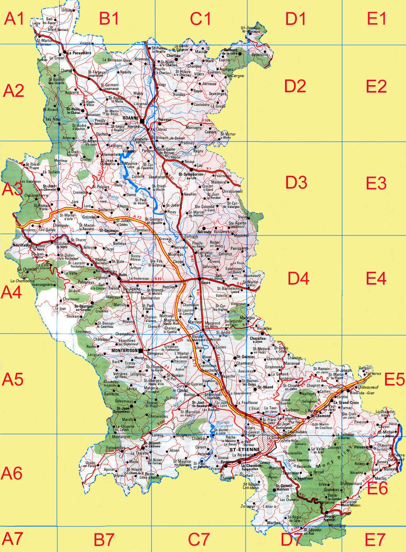 Carte de la loire loire carte du d partement 42 villes for 42 haute loire