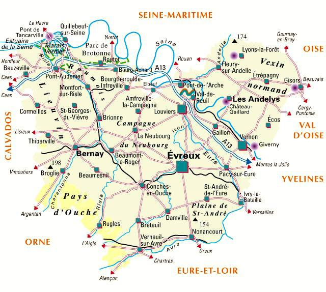 Carte de l 39 eure eure carte du d partement 27 villes for Carte touristique yvelines