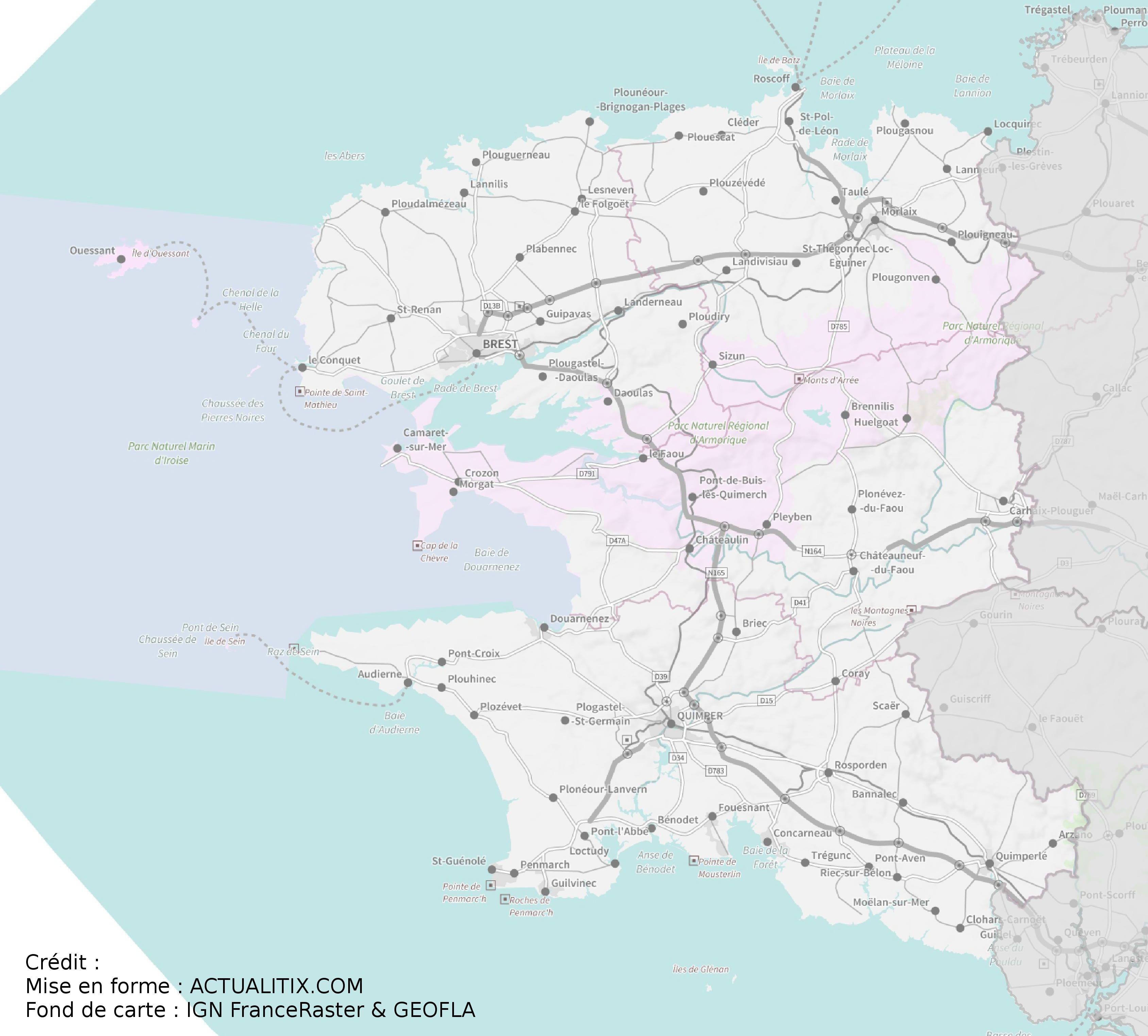 carte du finistere avec les communes Carte du Finistère   Finistère carte des villes, relief, politique