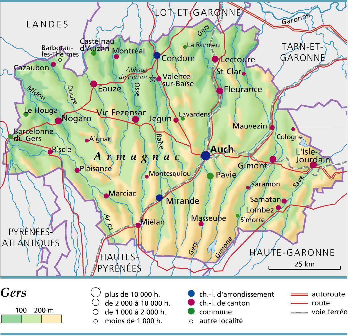 Carte du Gers - Administrative