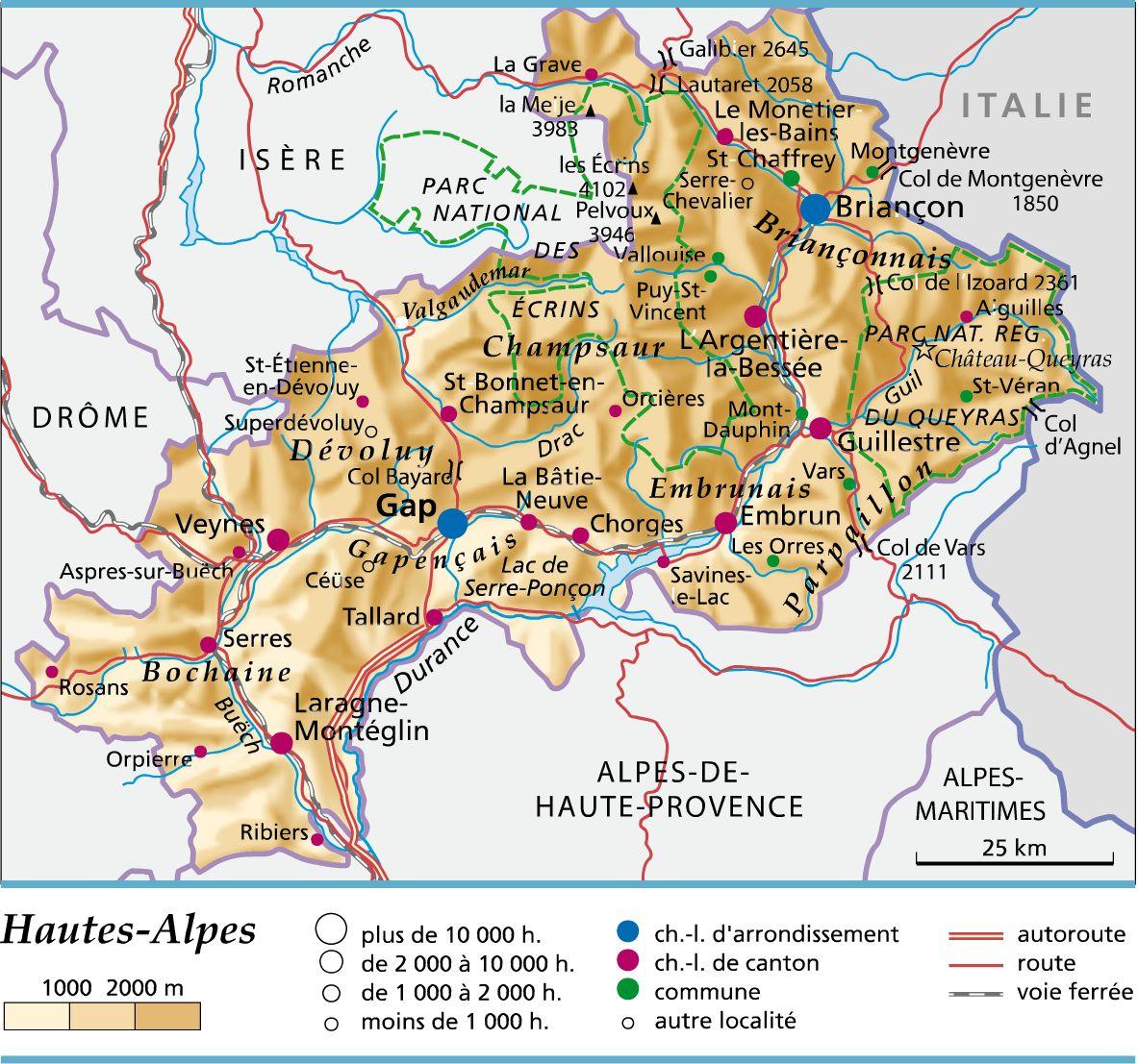 Carte des Hautes-Alpes
