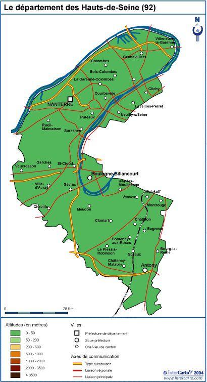 Carte des Hauts-de-Seine - Politique