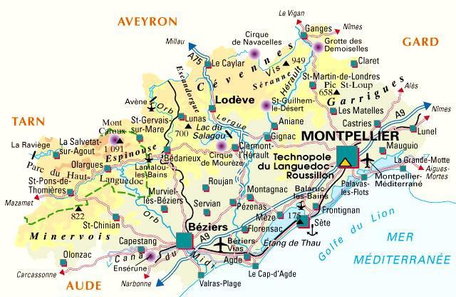 Carte de l 39 h rault h rault carte du d partement 34 for Piscine clermont l herault horaires