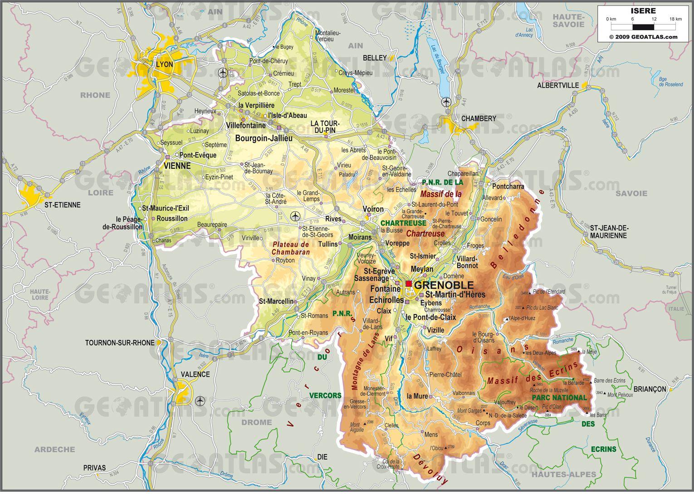 Carte de l'Isère