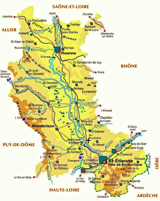 Carte de la Loire   Loire carte du département 42   villes, sites