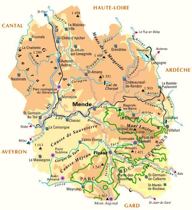 Carte de la Lozère - Administrative