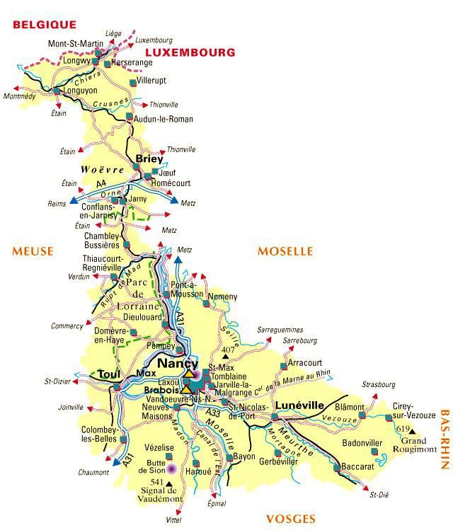 Carte de la Meurthe-et-Moselle - Politique