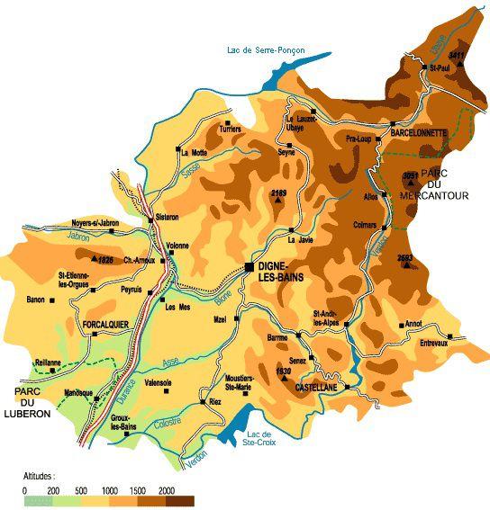 Carte relief Alpes-de-Haute-Provence