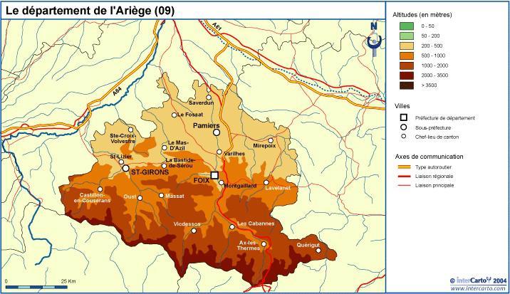 Carte de l 39 ari ge ari ge carte du d partement 09 tourisme voyages - Office de tourisme de l ariege ...