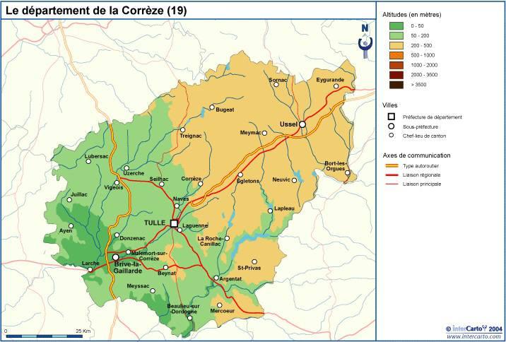 Carte du relief de la Corrèze