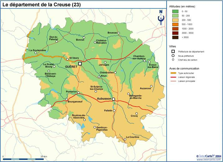 Carte du relief de la Creuse