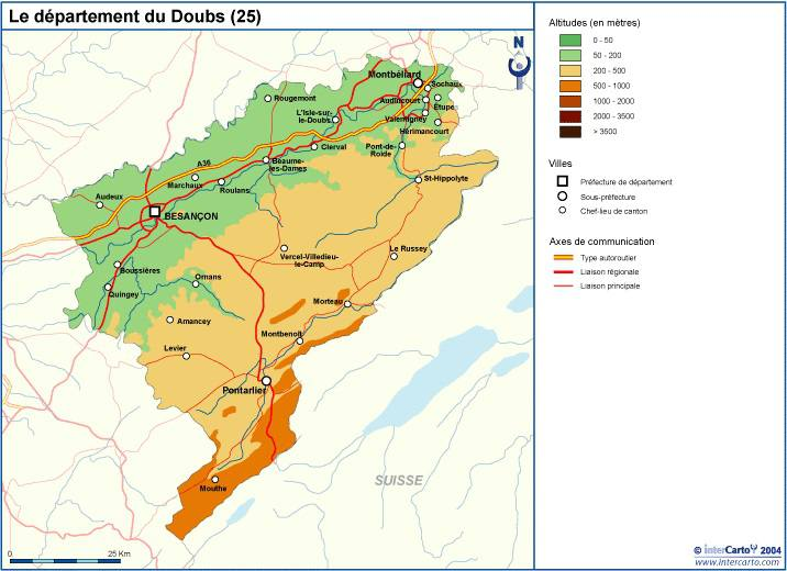 Carte du relief du Doubs
