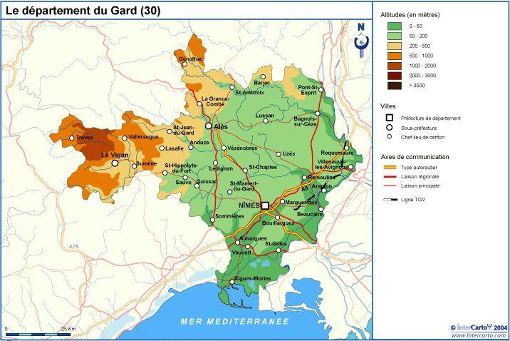 Carte du relief du Gard