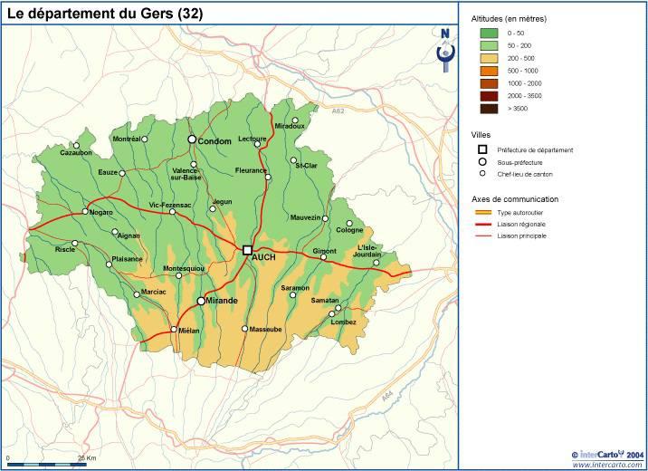 Carte du relief du Gers