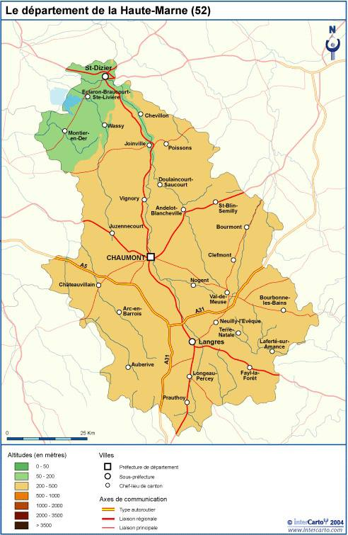 Carte du relief de la Haute-Marne