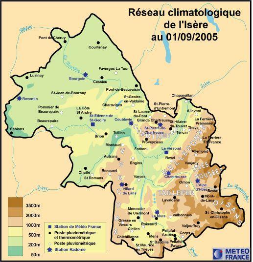 Carte du relief de l'Isère